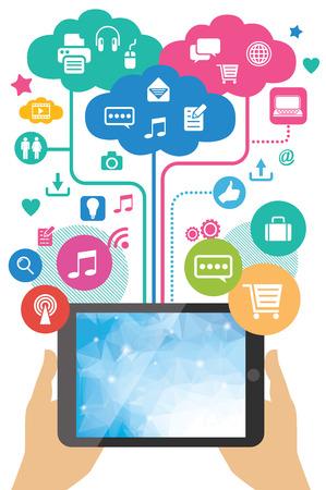 Illustration pour mobile app development concept - hands holding tablet pc  - image libre de droit