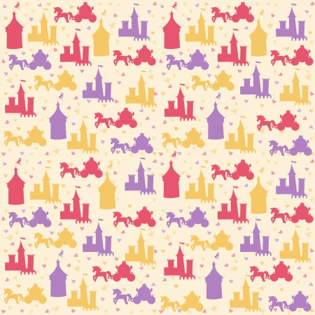 Seamless pattern with princess accessories mural
