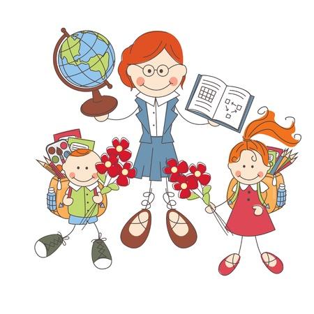Photo pour Illustration of children and teacher at school on white background  - image libre de droit