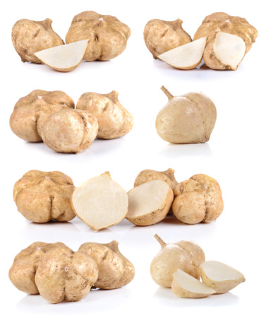 Photo for Jicamas on white background - Royalty Free Image