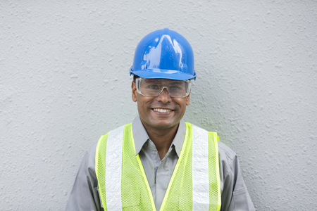 Photo for Portrait of a male Indian industrial engineer or builder at work. - Royalty Free Image