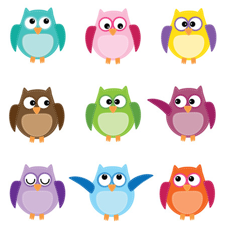 Ilustración de Group of nine owls in different colors on white  - Imagen libre de derechos