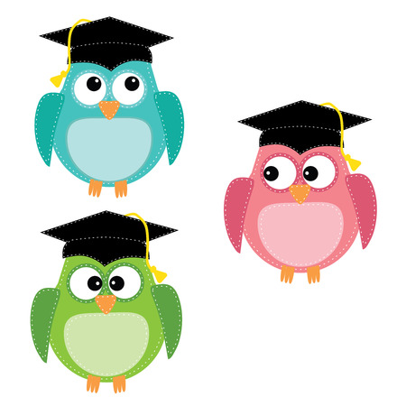 Three owls with graduation caps, for scrapbooking, vector format on transparent background.