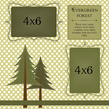 Pine trees on a polka dot background with frames for photos or text
