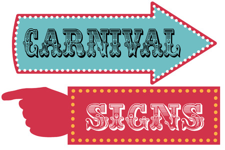Illustration pour Carnival sign template direction signs with arrow and pointing hand - image libre de droit