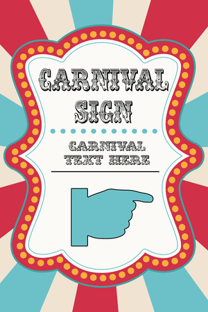 Illustration pour Carnival sign template with pointing hand - image libre de droit