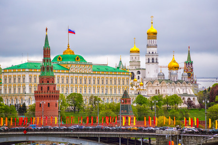 Photo for Moscow Kremlin on a cloudy day The ship on the background of the Moscow Kremlin cloudy day in the summer - Royalty Free Image