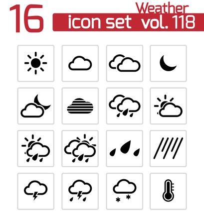 Illustration pour Vector black  weather   icons set - image libre de droit
