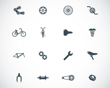 Illustration pour Vector black bicycle part icons set - image libre de droit