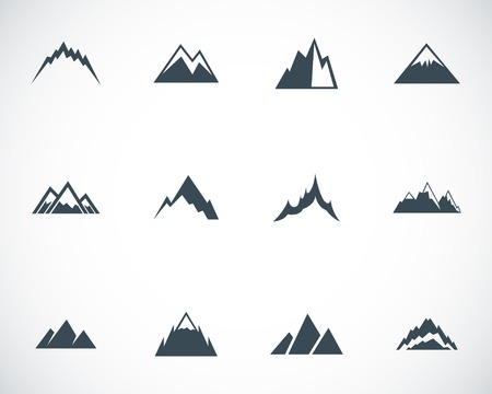 Illustration pour Vector black mountains icons set - image libre de droit
