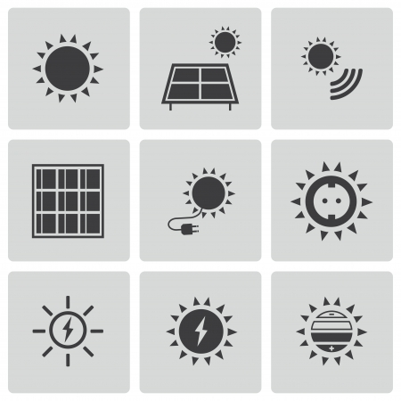 Illustration pour black solar energy icons set - image libre de droit