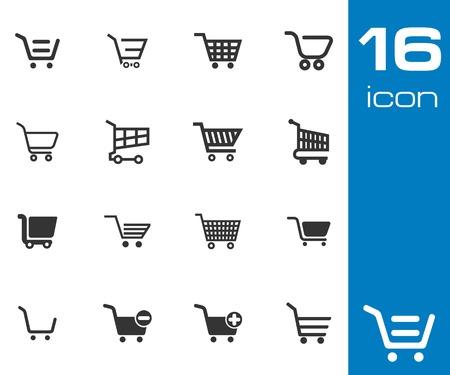 Ilustración de Vector black  shopping cart  icons set on white background - Imagen libre de derechos