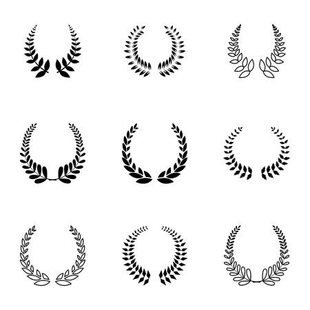 Illustration for Vector black laurel wreaths icons set on white background - Royalty Free Image