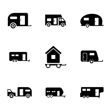 Illustration pour Vector black trailer icons set on white background - image libre de droit