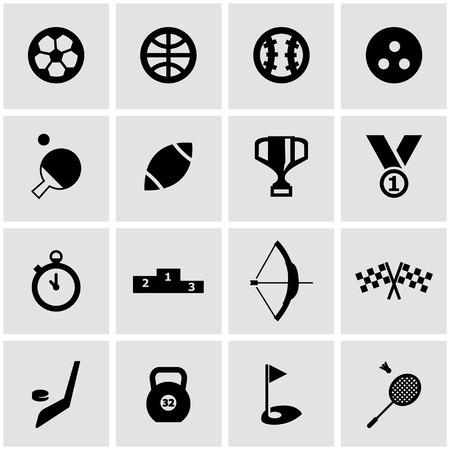 Vector black sport icon set on grey background