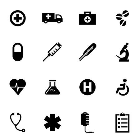 Illustration pour Vector black medical icon set on white background - image libre de droit