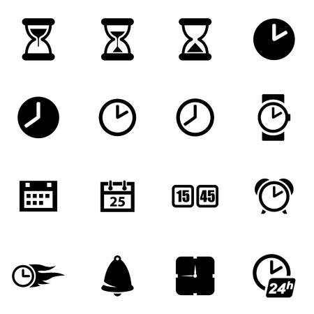 Illustration pour Vector black time icon set on white background - image libre de droit