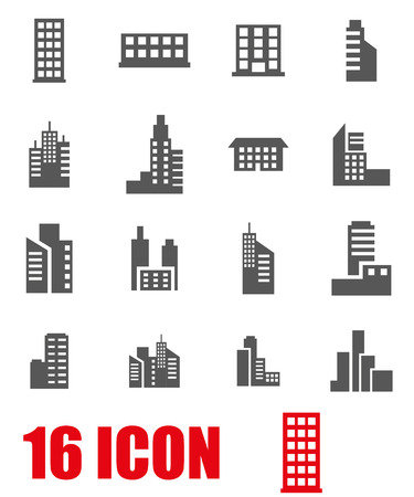 Foto de Vector grey building icon set on white background - Imagen libre de derechos