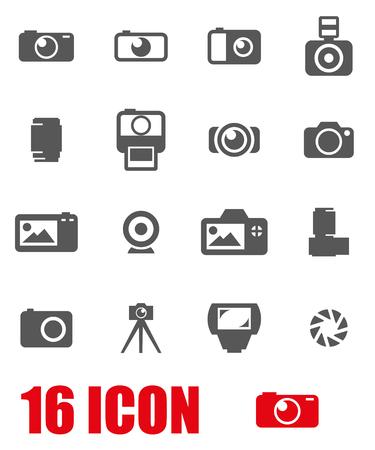 Illustration pour Vector black camera icon set on white background - image libre de droit