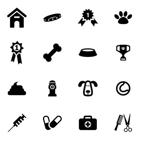 Ilustración de Vector black dog  icon set on white background - Imagen libre de derechos