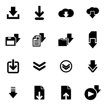 Ilustración de Vector black download  icon set on white background - Imagen libre de derechos