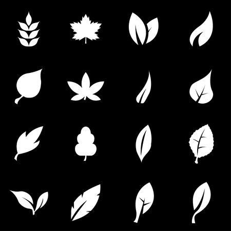 Illustration for Vector white leaf icon set on black background - Royalty Free Image