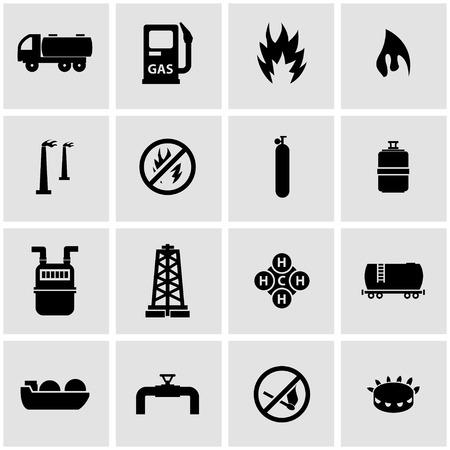 Illustration pour Vector black natural gas icon set on grey background - image libre de droit