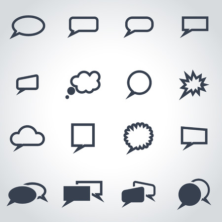 Illustration pour Vector black speach bubbles icon set on grey background - image libre de droit