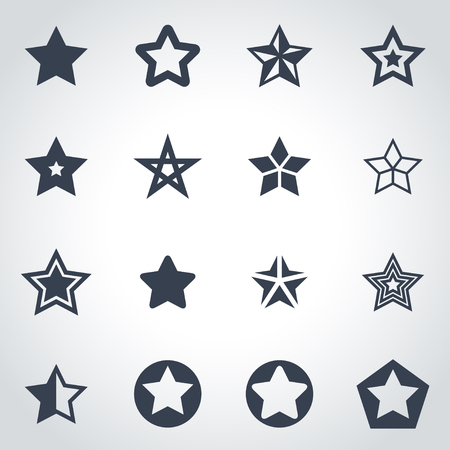 Illustration for Vector black stars icon set on grey background - Royalty Free Image