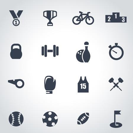 Ilustración de Vector black sport icon set on grey background - Imagen libre de derechos