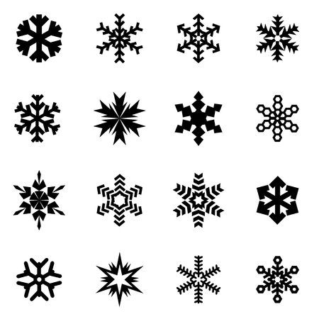 Illustration for Vector black snowflake icon set on white background - Royalty Free Image