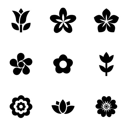 Illustration pour Vector black flowers icon set. Flowers Icon Object, Flowers Icon Picture, Flowers Icon Image - stock vector - image libre de droit