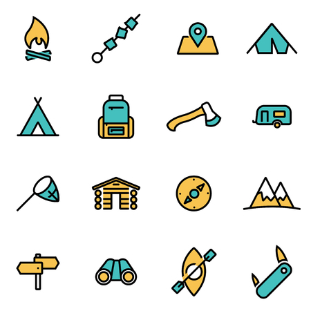Illustration pour Trendy flat line icon pack for designers and developers. Vector line camping icon set, camping icon object, camping icon picture, camping icon image - stock vector - image libre de droit