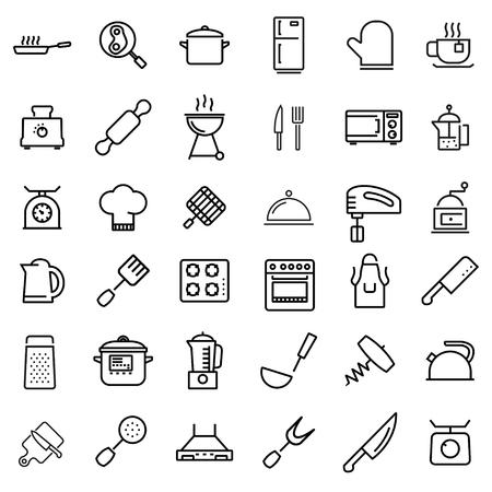 Illustration pour Vector line kitchen and cooking icons set. Kitchen and Cooking Icon Object, Kitchen and Cooking Icon Picture - stock vector - image libre de droit