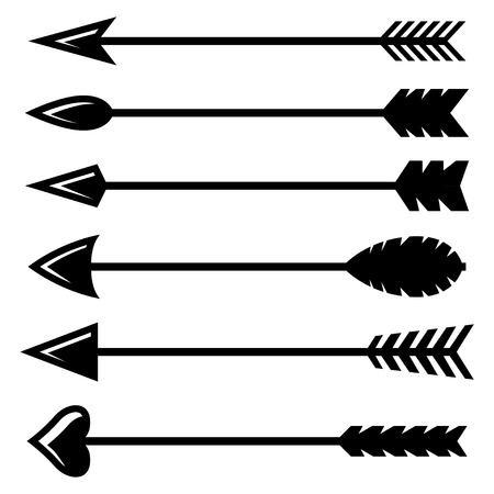 Illustration for Vector black bow arrow icons set on white background - Royalty Free Image