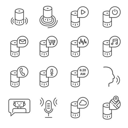 Ilustración de Smart speaker and virtual assistant. Vector icon set in outline style - Imagen libre de derechos