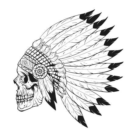 Illustration for Vector monochrome illustration of stylized skull wearing native American war bonnet. Design for T-shirt or poster. - Royalty Free Image