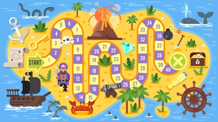 Illustration pour Vector flat style illustration of kids pirate board game template. For print. - image libre de droit