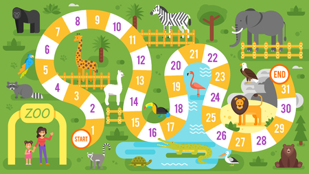Illustration pour Vector flat style illustration of kids zoo animals board game template. For print. - image libre de droit