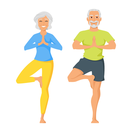 Ilustración de Vector cartoon style illustration of two characters: happy senior man and woman doing yoga exercise. Isolated on white background. - Imagen libre de derechos