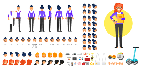 Ilustración de Vector flat style businesswoman character creation set for animation. Different emotions, hairstyles and gestures. Front, side and back view of character. Business icons. Isolated on white background. - Imagen libre de derechos
