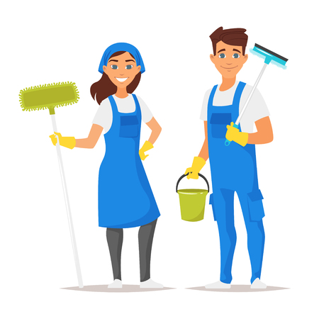 Illustrazione per Vector cartoon style illustration of cleaning service man and woman character. Isolated on white background. - Immagini Royalty Free