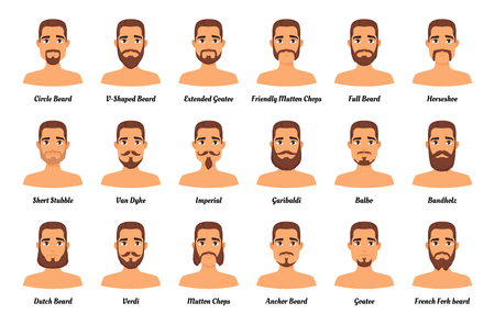 Illustrazione per Vector cartoon style set of man different  fashion beards and mustaches on mans character face. Facial hair types guide on white background. Male avatar. - Immagini Royalty Free
