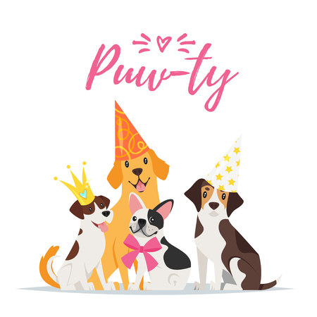 Vector  cartoon style illustration of Dog party greeting card with dogs with festive cone hats on white background.
