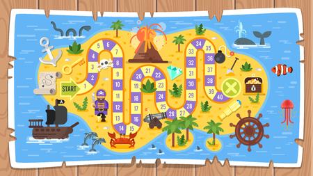 Ilustración de Colored illustration of pirate board game template. - Imagen libre de derechos