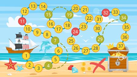 Ilustración de Vector cartoon style illustration of kids pirate board game template. Pirate boat near sea shore. For print. Horizontal composition. - Imagen libre de derechos