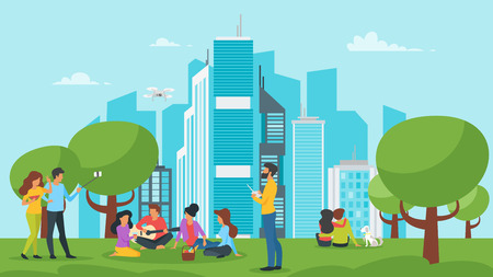 Ilustración de Vector cartoon style illustration of park with city at the background. Urban skyline with modern skyscrapers. Outdoor activity: people resting and making picnic. Modern lifestyle. - Imagen libre de derechos