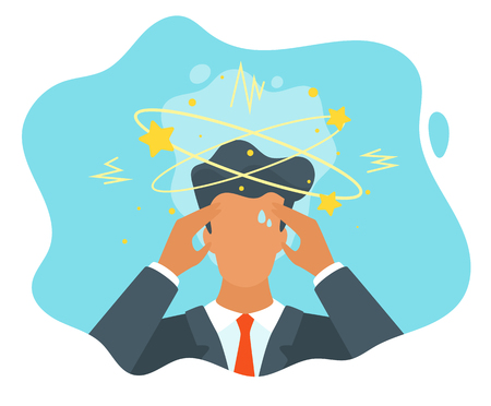 Illustrazione per Vector flat style businessman having trouble with thinking. No idea concept. Man with the stars spinning around his head. - Immagini Royalty Free