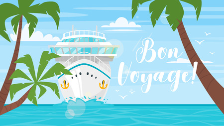 Illustration pour Vector cartoon style background of sea view. Good sunny day. Cruise ship - front view. Travel and tourism transport. Palm trees. - image libre de droit