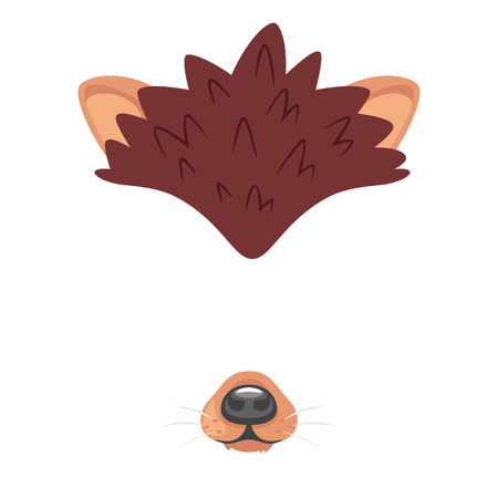 Illustrazione per Vector cartoon style cute animal hedgehog face element or carnival mask. Decoration item for your selfie photo and video chat filter. Ears and nose. Isolated on white background. - Immagini Royalty Free
